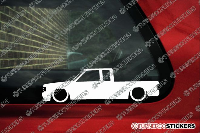 2x Low truck outline stickers - Chevrolet S10 extended cab pickup (1982-1993) Chevy S-10